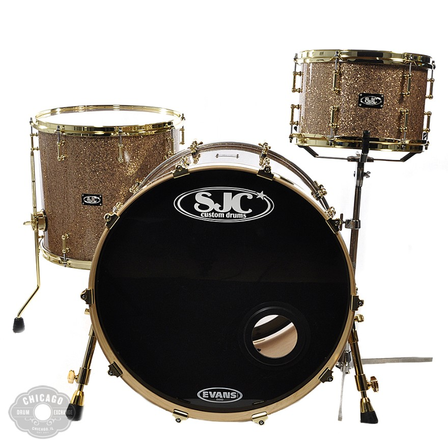 SJC 12/16/22 3pc Kit w/Tube Lugs & Brass Hdwr Tan Glitter