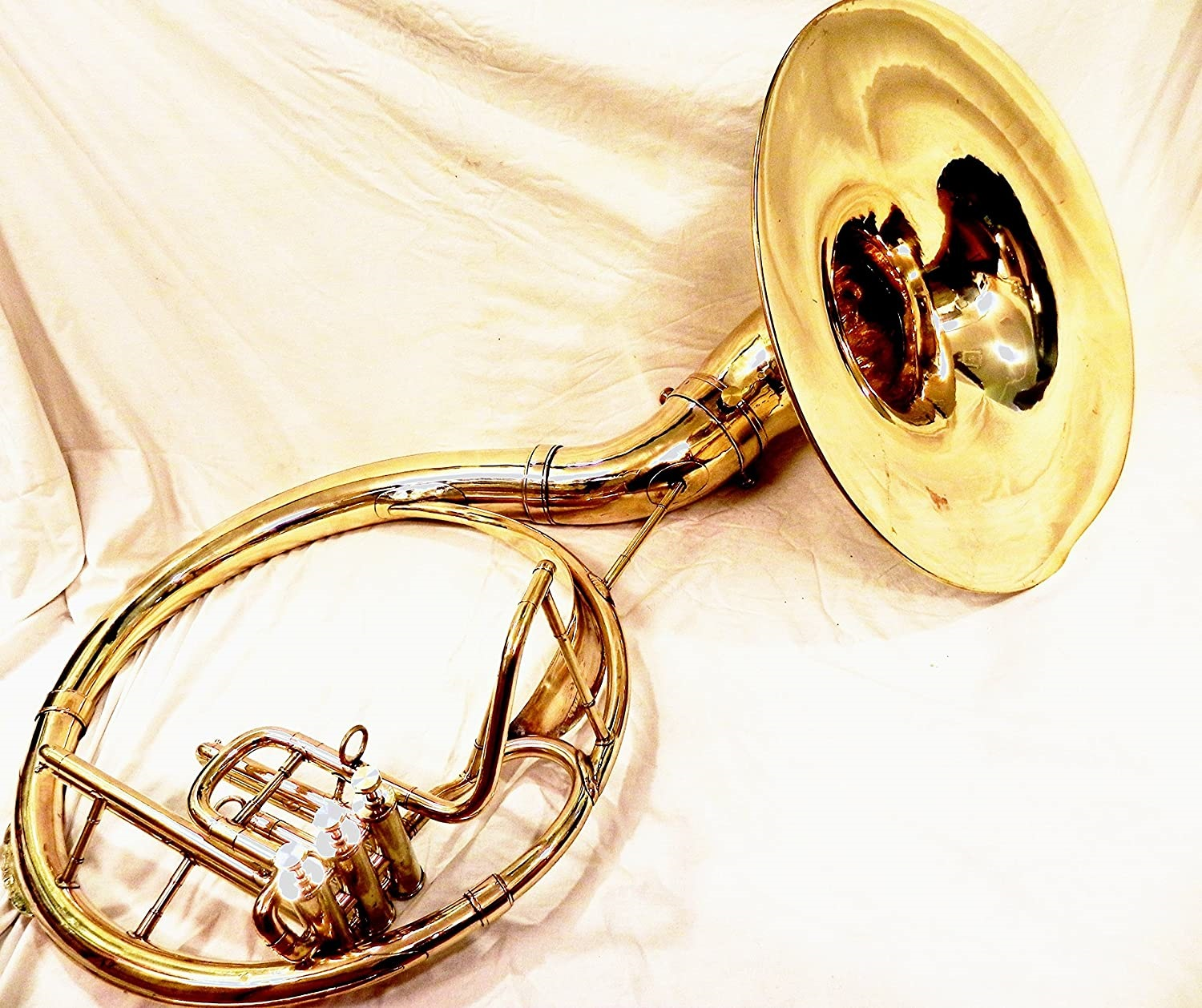 INDIAN HANDMADE BRASS FINISH 22 SOUSAPHONE BRASS MADE TUBA MOUTH PIECE WITH BAG